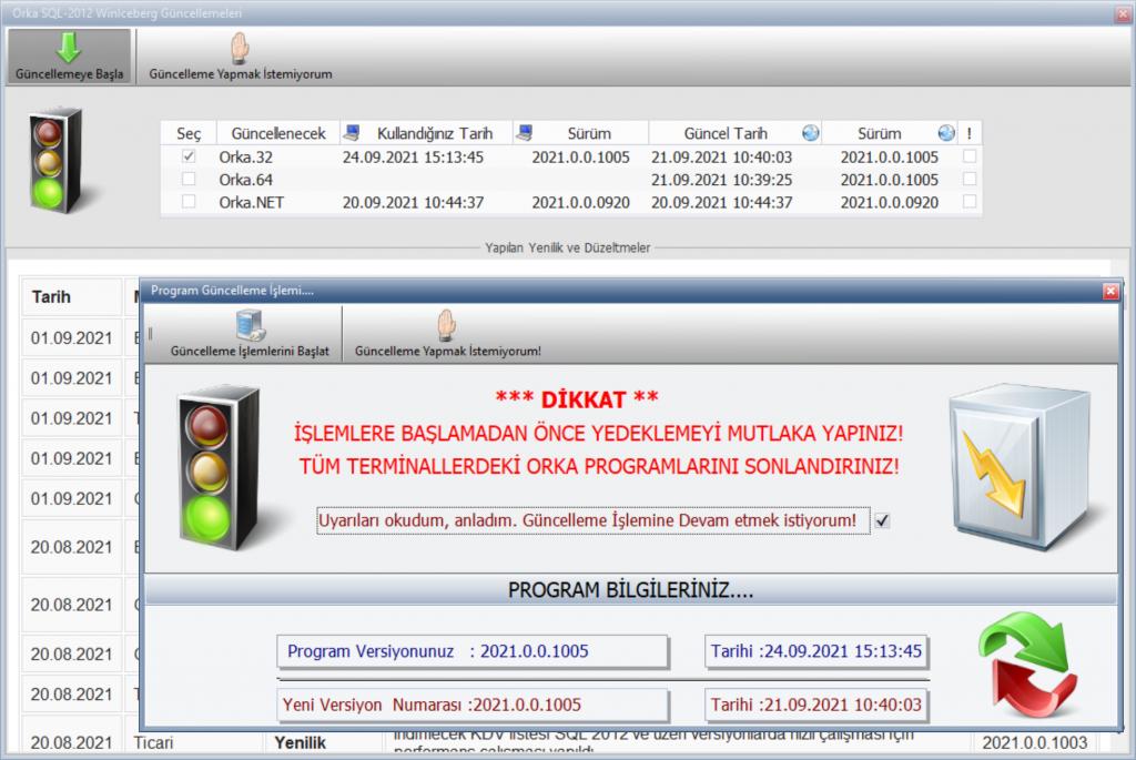 ORKA SQL Güncelleme Ekranı