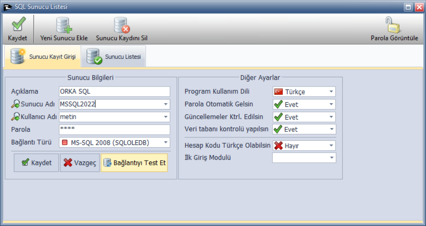 SQL Server Bağlantı Tanımlaması